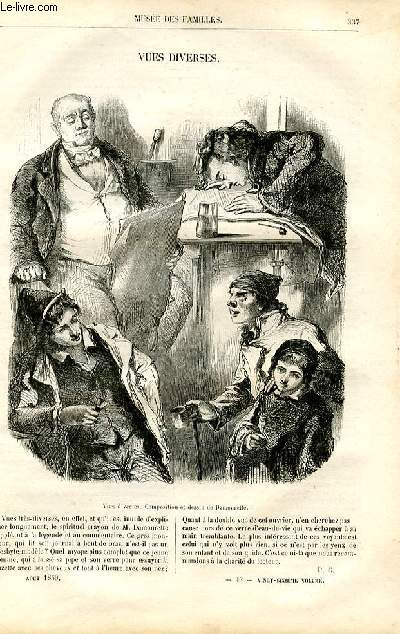 Le musée des familles - lecture du soir -  livraison n°43 - Vues diverses (gravure et petit texte de quelques lignes).