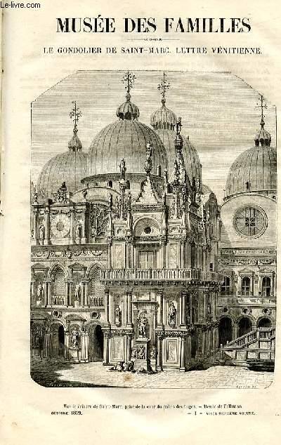 Le musée des familles - lecture du soir -  livraisons n°01 et 02 - Le gondolier de Saint Marc , lettre vénitienne par un officier français en congés.