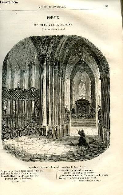Le musée des familles - lecture du soir -  livraisons n°05 et 06 - Poésie - Les vitraux de la chapelle (parabole de Schiller), poème par Emiel Deschamps.