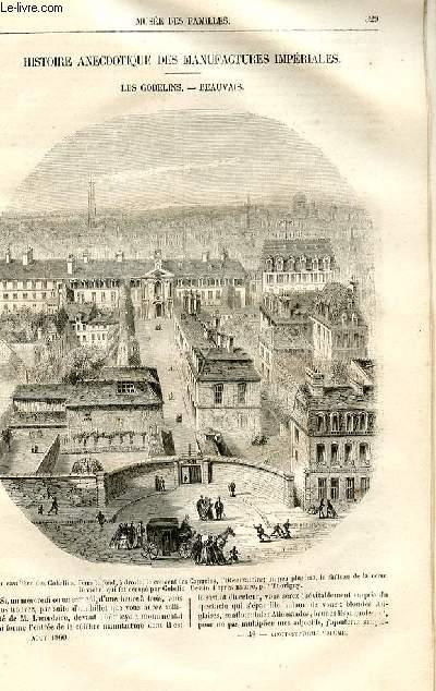Le musée des familles - lecture du soir -  livraison n°42 - Histoire anecdotique des manufactures impériales - les Gobelins - Beauvais par Louis berger,à suivre.