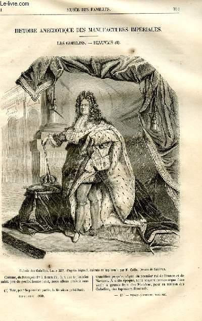 Le musée des familles - lecture du soir -  livraison n°45 - Histoire anecdotique des manufactures impériales - les Gobelins - Beauvais  par Louis Berger,suite.