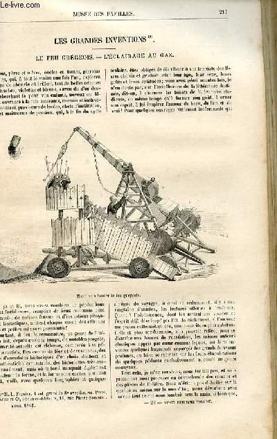 Le musée des familles - lecture du soir -  livraison n°28 - Les grandes inventions - le feu grégeois - l'éclairage au gaz par Arthur Mangin.