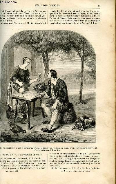 Le musée des familles - lecture du soir -  livraisons n°07 et 08 - Les contes en famille , l'enchanteur merlin, le roi Arthur et la table ronde par le vicomte Th. Hersart de la Villemarqué,suite.