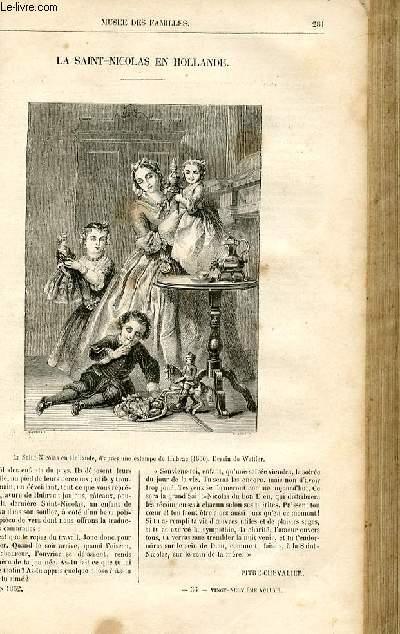 Le musée des familles - lecture du soir -  livraison n°36 - La Saint Nicolas en Hollande par Pitre Chevalier,petit article de quelques lignes.