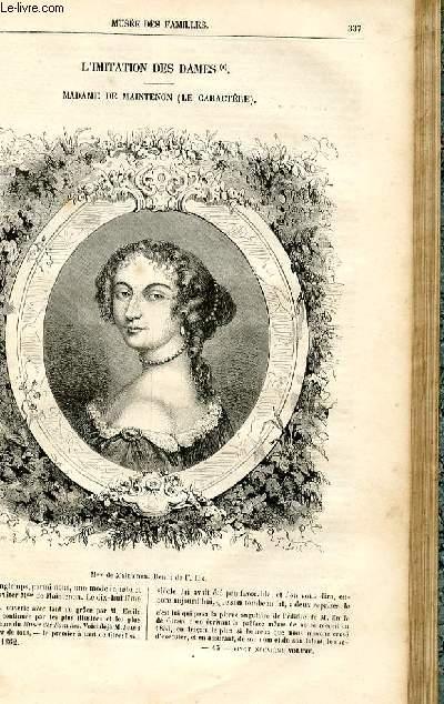 Le musée des familles - lecture du soir -  livraisons n°43 et 44- L'imitation des dames - Madame de Maintenon (le caractère) par Jules Janin.