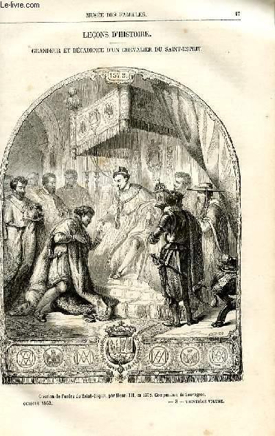 Le musée des familles - lecture du soir -  livraisons n°03 et 04 - Leçons d'histoire - grandeur et décadence d'un chevalier du Saint Esprit par Pitre Chevalier.