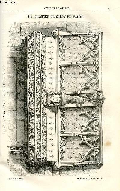 Le musée des familles - lecture du soir -  livraison n°06 - La cheminée de Crépy en valois par Pitre Chevalier,petit article.