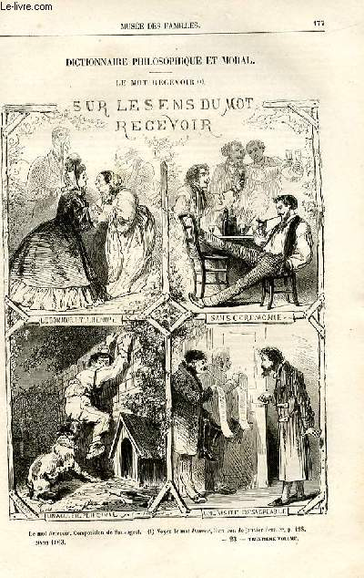 Le musée des familles - lecture du soir -  livraisons n°23 et 24- Dictionnaire philosophique et moral - Le mot recevoir (uniquement une gravure).
