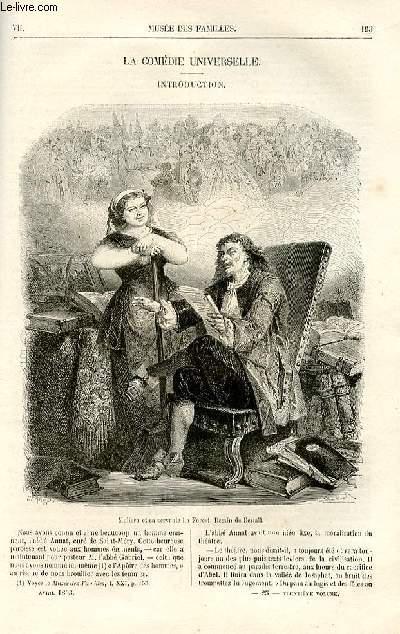 Le musée des familles - lecture du soir -  livraisons n°25 et 26 - La comédie universelle par Jules janin,à suivre.