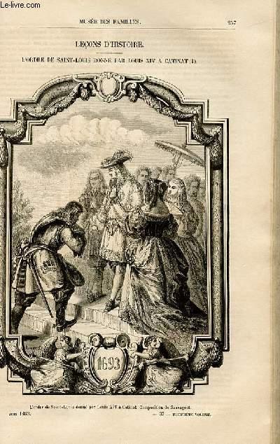 Le musée des familles - lecture du soir -  livraisons n°33,34 et 35- Leçons d'histoire - L'ordre de Saint Louis Donné par Louis XIV à Catinat.
