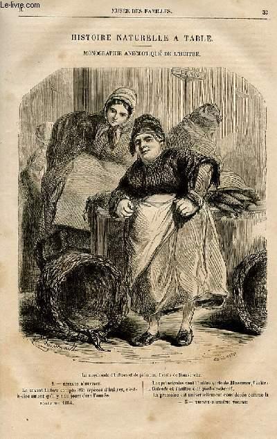 Le musée des familles - lecture du soir -  livraisons n°05 et 06 - Histoire naturelle à table , monographie anecdotique de l'huitre par Fulbert Dumontheil.