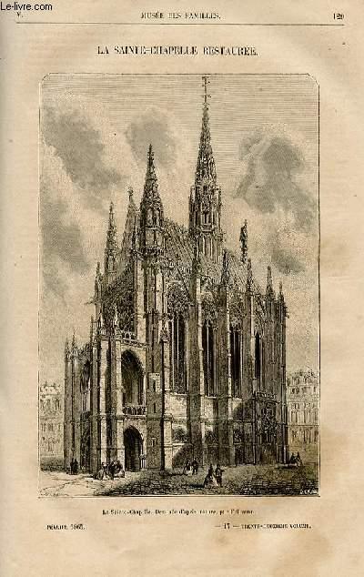 Le musée des familles - lecture du soir -  livraisons n°17 et 18- La sainte Chapelle restaurée , petit article.