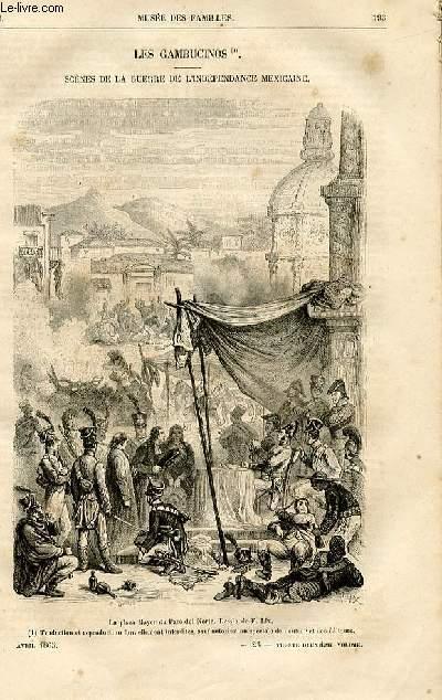 Le musée des familles - lecture du soir -  livraisons n°25 et 26 - Les gambicinos, scènes de la guerre de l'indépendance mexicaine par Gustave Aimard,à suivre.