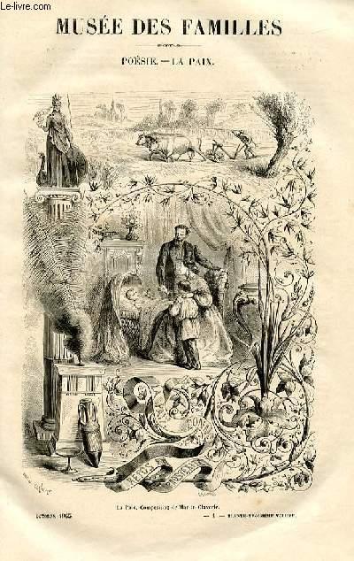 Le musée des familles - lecture du soir -  livraisons n°01 et 02- Poésie - La paix  ( poème par Méry).