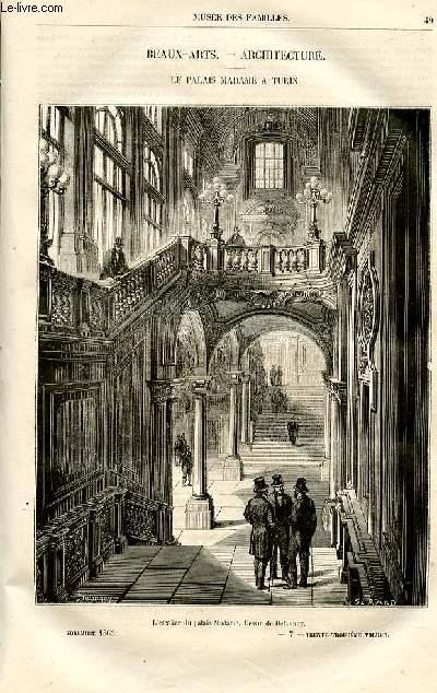 Le musée des familles - lecture du soir -  livraisons n°07 et 08 - Beaux Arts - Architecture : le palais Madame à Turin, petit article par Raymond (avec gravure pleine page).