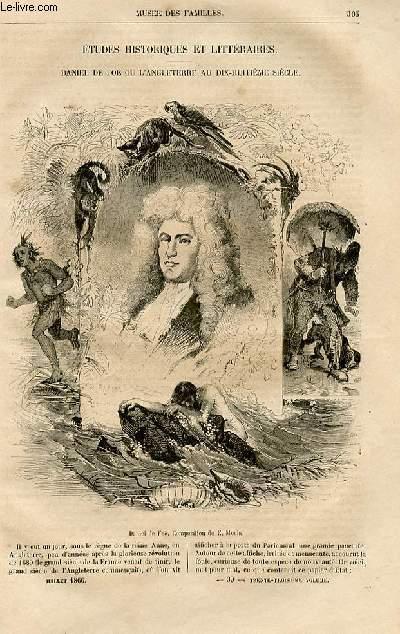 Le musée des familles - lecture du soir -  livraisons n°39 et 40 - Etudes historiques et littéraires - Daniel de Foe ou l'Angleterre au 18ème siècle par JUles Janin, à suivre.