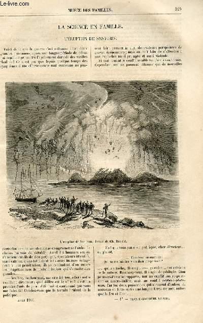 Le musée des familles - lecture du soir -  livraison n°42 - La science en famiulle - L'éruption de Santorin par Arthur Mangin.