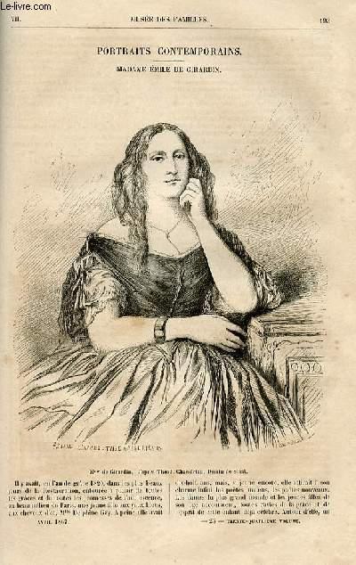 Le musée des familles - lecture du soir -  livraisons n°25 et 26 - Portraits contemporains - Madame Emile de Girardin par J. Janin,à suivre.