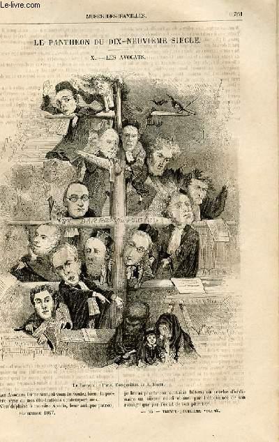 Le musée des familles - lecture du soir -  livraisons n°46,47 et 48 - Le panthéon du 19ème siècle - les avocats par Morin (tout petit article).