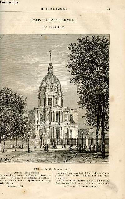 Le musée des familles - lecture du soir -  livraisons n°07 et 08 - Paris ancien et nouveau - els Invalides par Louis Berger,à suivre.