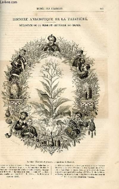 Le musée des familles - lecture du soir -  livraison N° 15 et 16  - Histoire anecdotique de la tabatière - décadence de la prise et grandeur du cigare par Fulbert Dumonteilh.