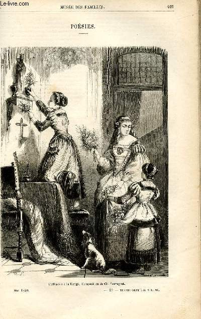 Le musée des familles - lecture du soir -  livraison n°29 - Poésies .