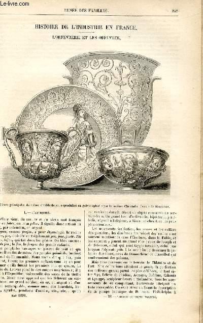 Le musée des familles - lecture du soir -  livraison n°32 - Histoire de l'industrie en France - L'orfèvrerie et les orfèvres par Deslys, à suivre.