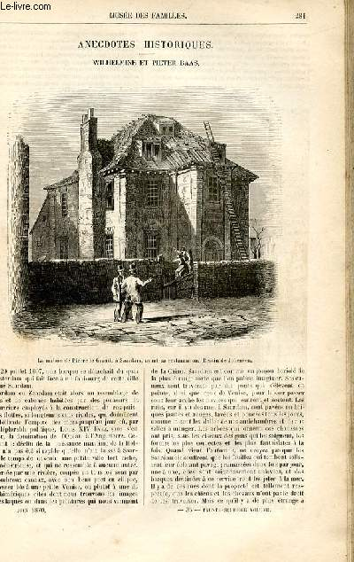 Le musée des familles - lecture du soir -  livraison n°36 - Anecdotes historiques - Wilhelmine et Pieter baas par A. de Fleury.