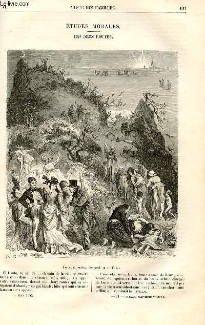 Le musée des familles - lecture du soir -  livraisons n°21 et 22 - Etudes morales - Les deux routes par Toussaint Samson.