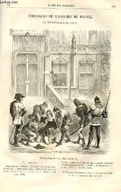 Le musée des familles - lecture du soir -  livraisons n°29 et 30 - Chroniques de l'histoire de France - La ménestrielle du roi par R. de Navery,suite.