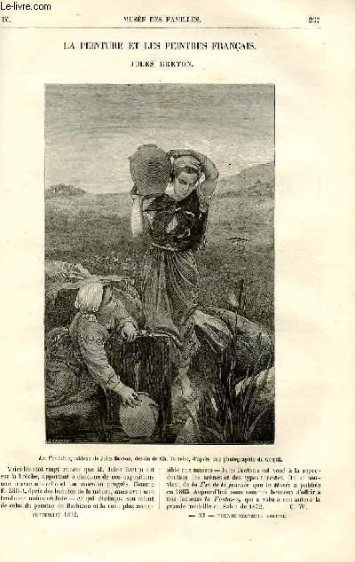 Le musée des familles - lecture du soir -  livraisons n°33 et 34 - La peinture et les peintres français - Jules Breton (petit article de quelques lignes avec gravure).