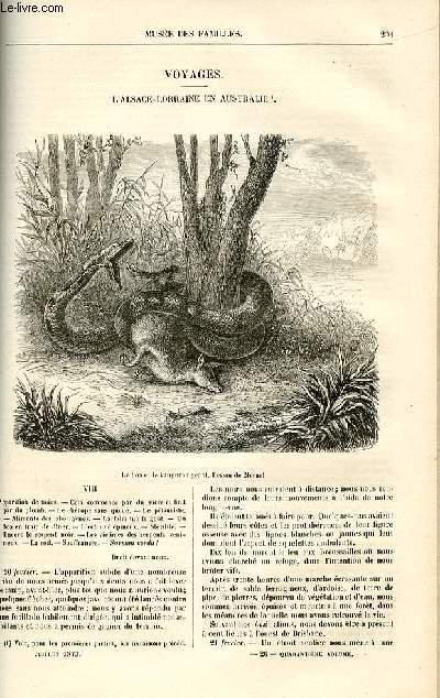 Le musée des familles - lecture du soir -  livraisons n°26 et 27 - Voyages - l'Alsace - Lorraine en Australie par Dubarry,suite.