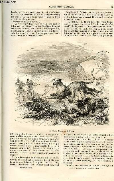 Le musée des familles - lecture du soir -  livraisons n°04 - Histoire naturelle en action - Les mémoires d'une ménagerie par De La Blanchère,suite.