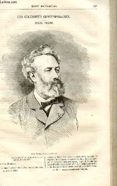 Le musée des familles - lecture du soir -  livraisons n°33 et 34 - Les célébrités contemporaines - Jules Verne par Raymond.