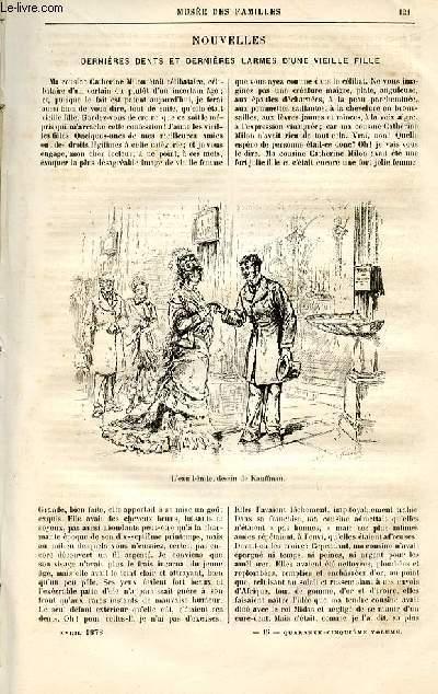 Le musée des familles - lecture du soir -  livraison n°16 - Nouvelles - Dernières dents et dernières larmes d'une vieille fille par H. Emile Chevalier.