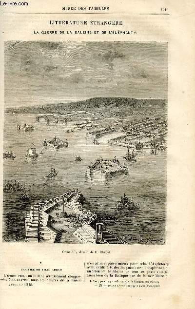 Le musée des familles - lecture du soir -  livraisons n°25 et 26 -Littérature étrangère - la guerre de la baleine et de l'éléphant par O. de MArcols,suite et fin.