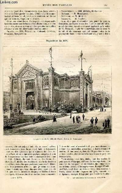 Le musée des familles - lecture du soir -  livraisons n°31 et 32 - Industrie et Beaux Arts - les bourgeois de Pont Arcy à l'exposition par Potin de la Potinnière,suite.