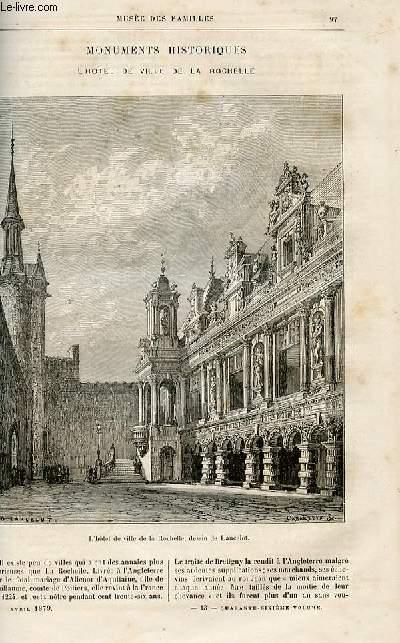 Le musée des familles - lecture du soir -  livraisons n°13 et 14 - Monuments historiques - L'hôtel de ville de la Rochelle.