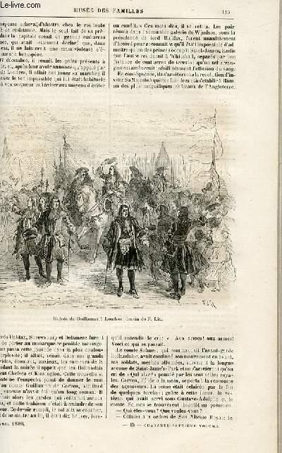 Le musée des familles - lecture du soir -  livraison n°15 - Les révolutions d'autrefois - le dernier des Stuarts (1688), suite et fin par Genevay.