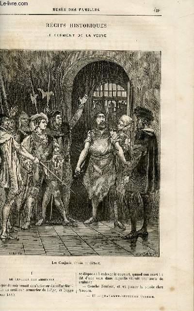 Le musée des familles - lecture du soir -  livraisons n°17, 18 et 19 - Récits historiques - Le serment de la veuve par R. De Navery,à suivre.