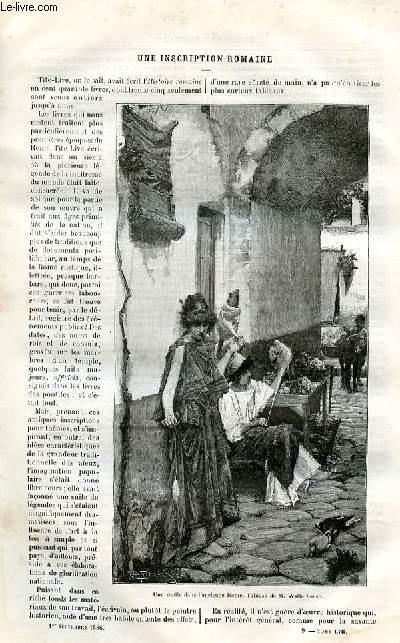Le musée des familles - lecture du soir -  livraisons n°09 et 10 - Une inscription romaine par Georges Bernier.