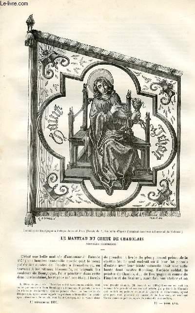 Le musée des familles - lecture du soir -  livraisons n°11 et 12 - Le manteau du comte de Charolais, nouvelle historique par Berthe Vadier,à suivre.