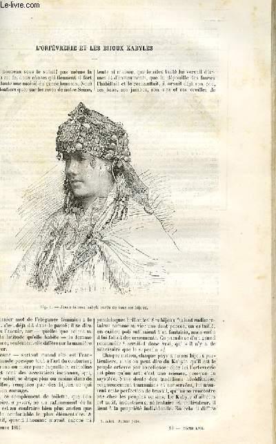 Le musée des familles - lecture du soir -  livraisons n°13 et 14- L'orfèvrerie et les bijoux kabyles par Louise Lacuria.
