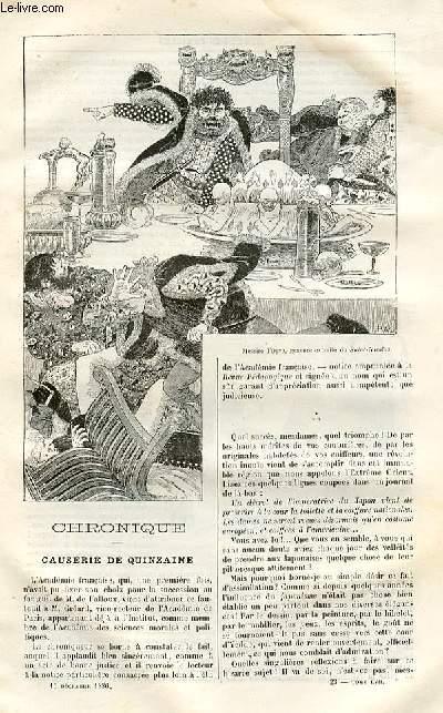 Le musée des familles - lecture du soir -  livraison n°23 - Chronique - causerie de quinzaine.