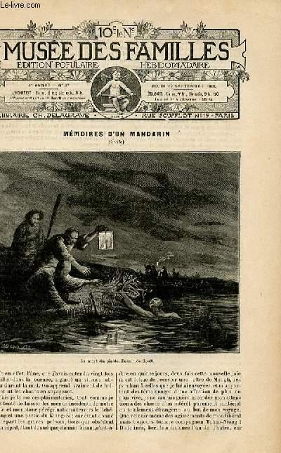 Le musée des familles -  édition populaire hebdomadaire-  livraison n°37 - Mémoires d'un mandarin par Eugène Muller,suite.