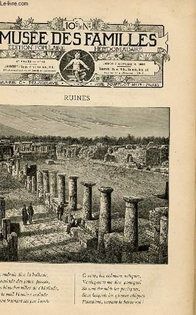 Le musée des familles - édition populaire hebdomadaire-  livraison n°45 - Ruines, poésie par Jacques de Bonal.