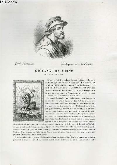 Biographie de Giovanni da Udine (né en 1487 - mort en 1564) ; Ecole Romaine ; Grotesque et Arabesques ; Extrait du Tome 1 de l'Histoire des peintres de toutes les écoles.