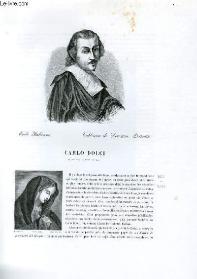 Biographie de Carlo Dolci (né en 1616, mort en 1686) ; Ecole Italienne ; Tableaux de Dévotion, Portraits ; Extrait du Tome 2 de l'Histoire des peintres de toutes les écoles.