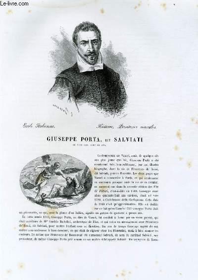 Biographie de Giuseppe Porta, dit Salviati (né vers 1520, mort en 1572) ; Ecole Italienne ; Histoire, Peintures murales ; Extrait du Tome 3 de l'Histoire des peintres de toutes les écoles.