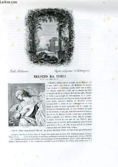 Biographie de Melozzo Da Forli (né en 1438, mort en 1494) ; Ecole Bolonaise ; Sujets religieux et historiques ; Extrait du Tome 4 de l'Histoire des peintres de toutes les écoles.